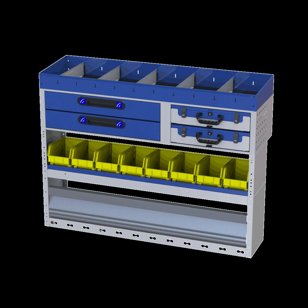 estrutura com vários compartimentos furgões