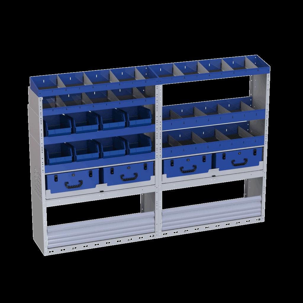 estantes com caixas de ferramentas grandes