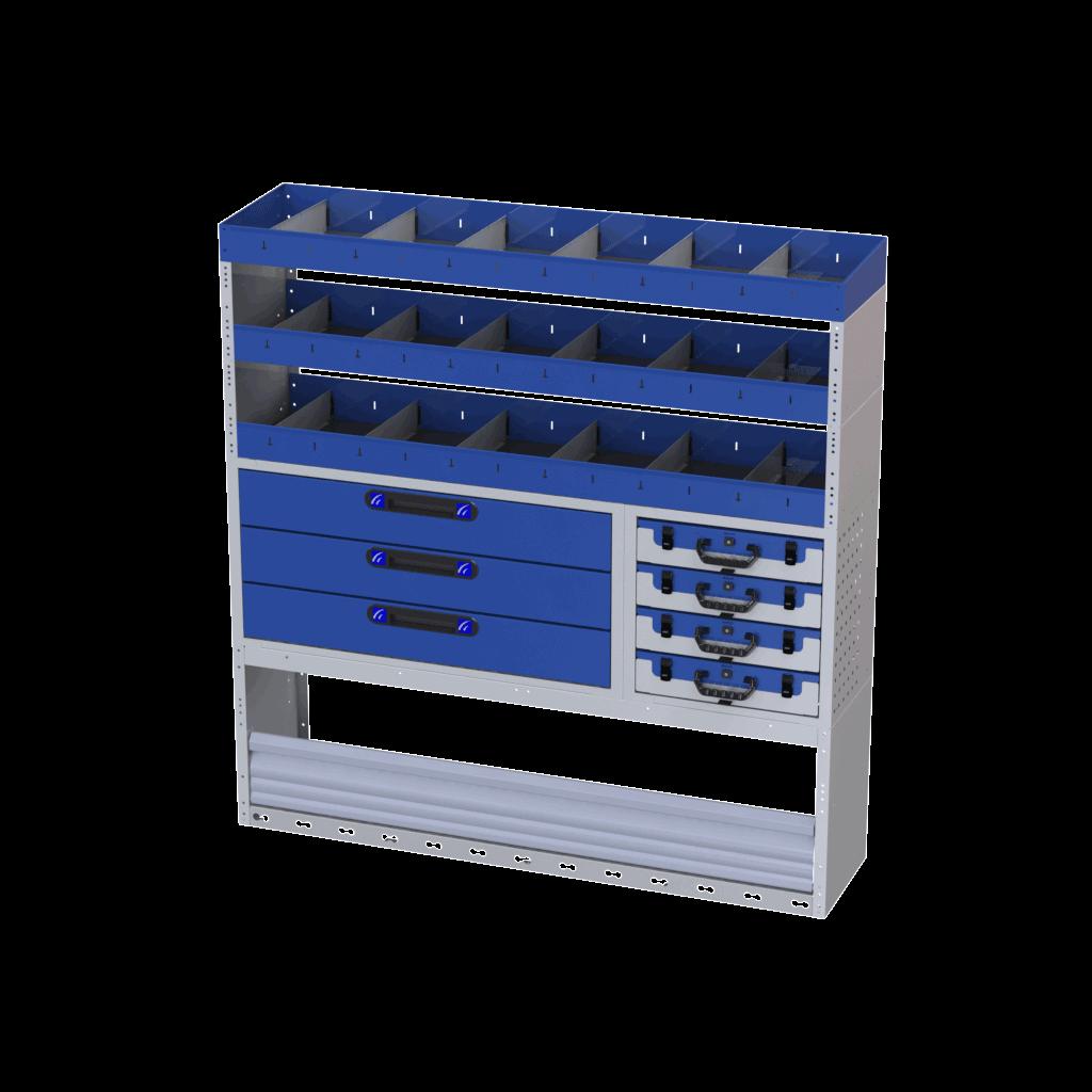estantes com gavetas caixas de ferramentas e divisórias