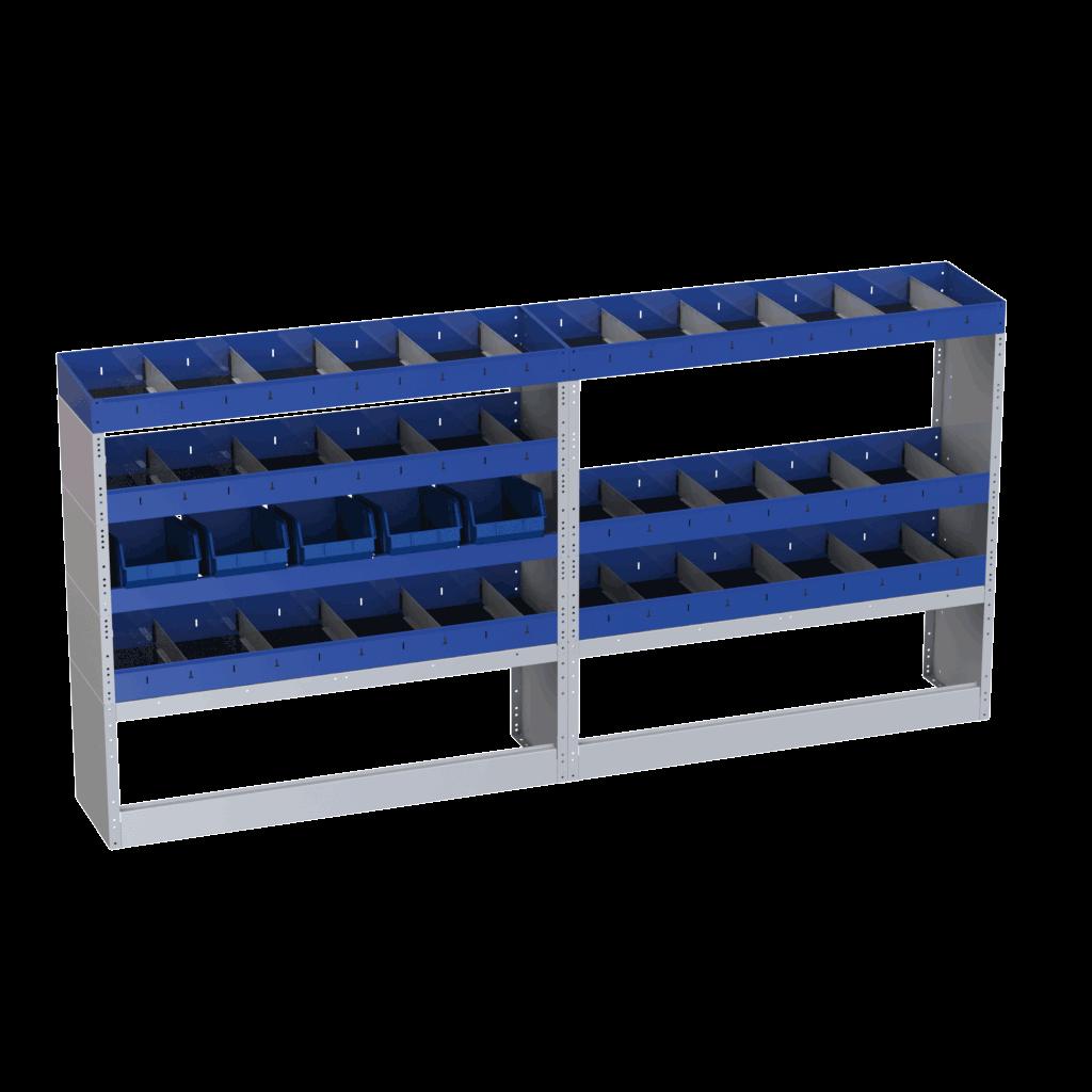 estantes carrinhas com várias divisórias