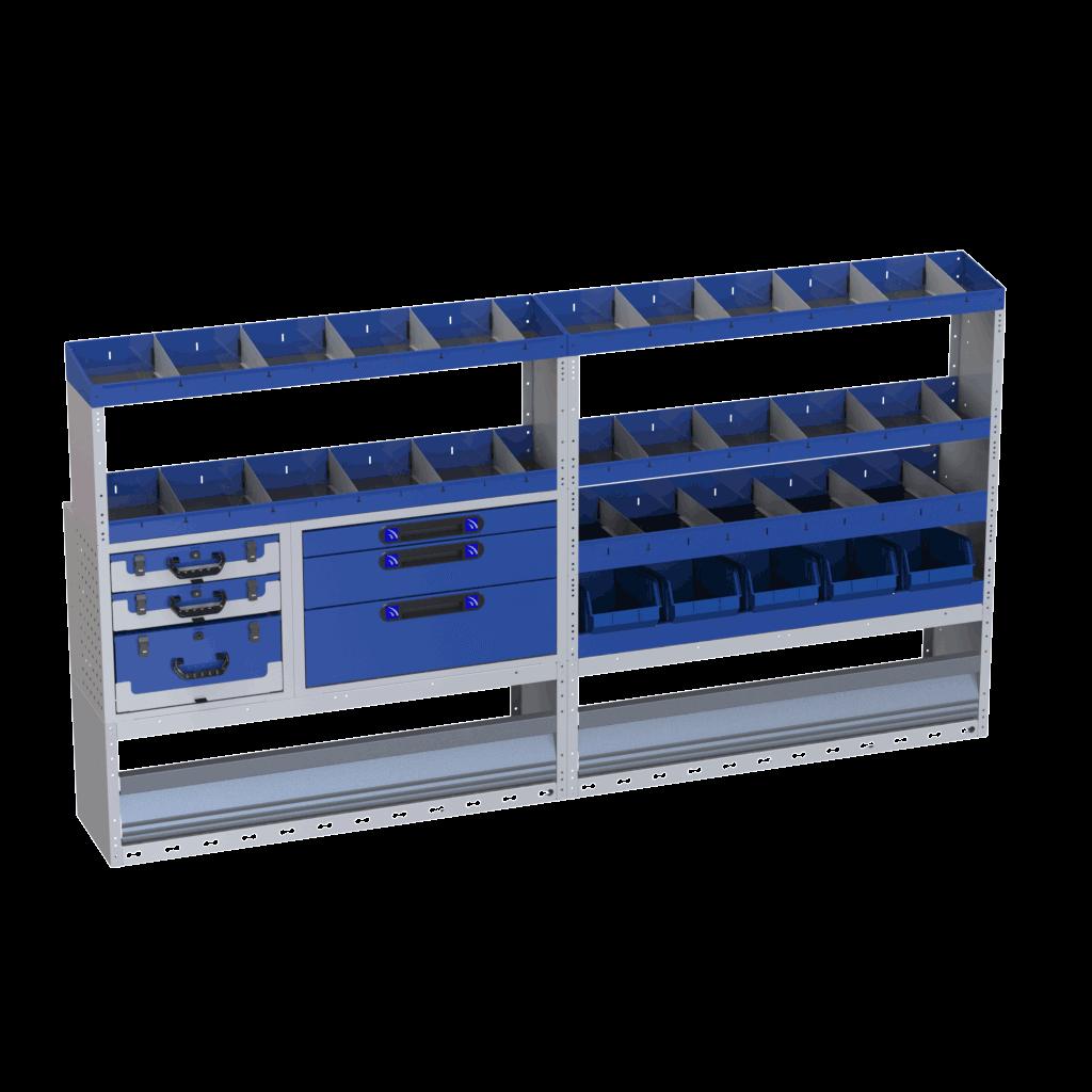 estantes carrinhas com vários compartimentos